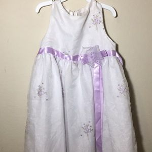 Other - Girls White Formal Dress with Purple Flower Detail